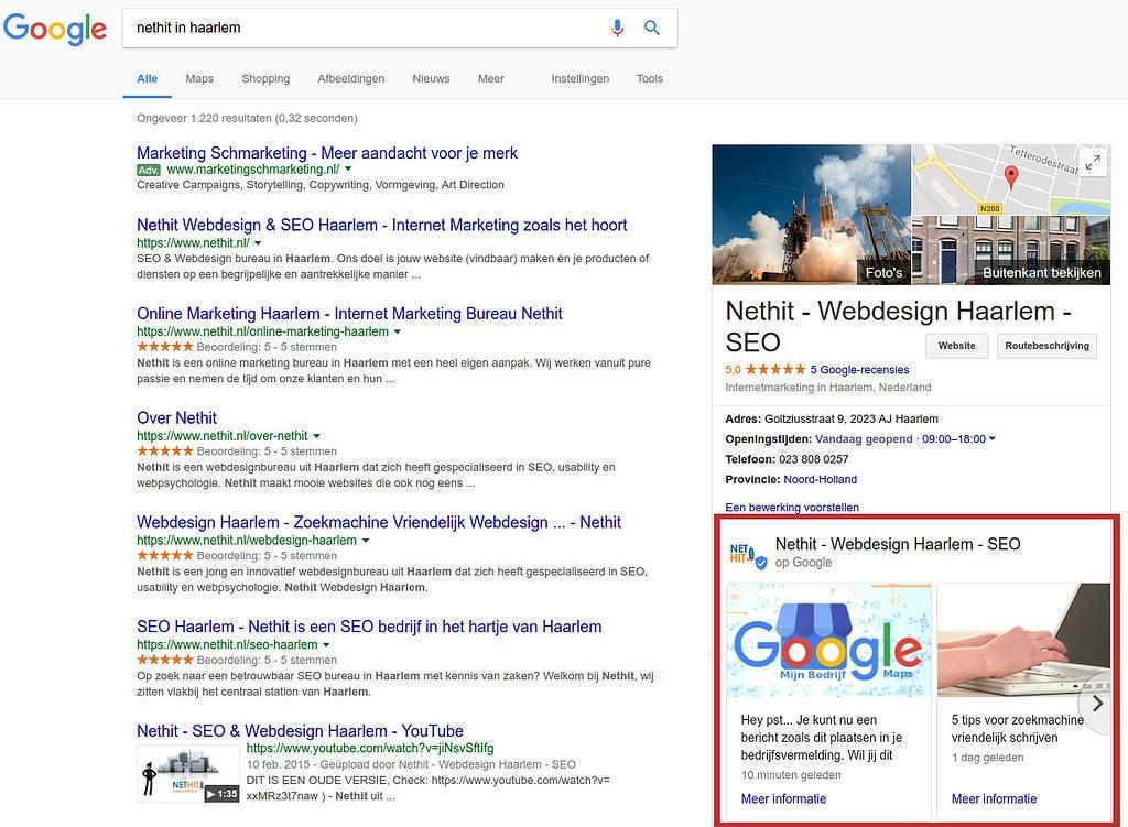 Google Posts Voorbeeld