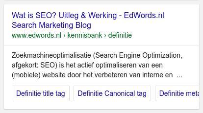 Google Sitelinks Carrousel Voorbeeld
