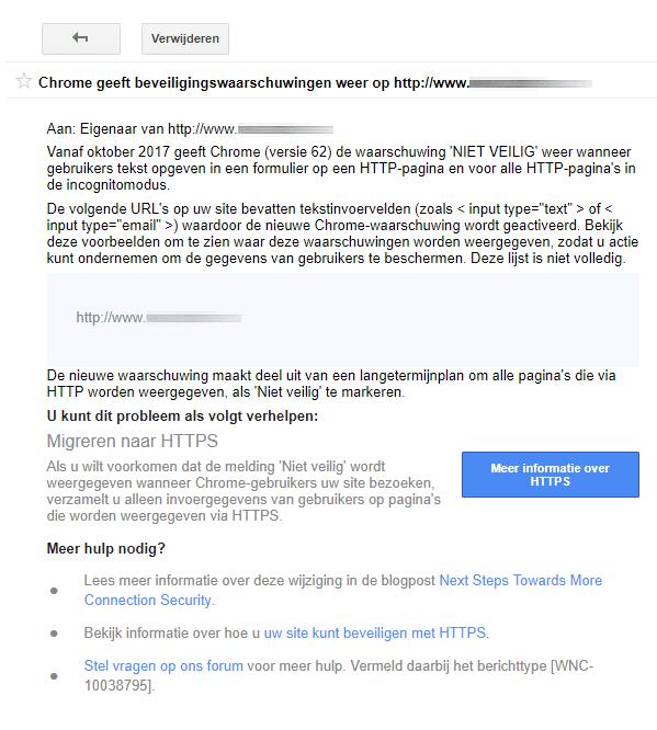 beveiligingswaarschuwing google search console
