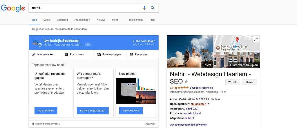Voorbeeld van het verkleinde Google Mijn Bedrijf Dashboard