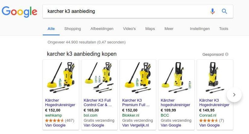 Google shopping met prijsvergelijkers