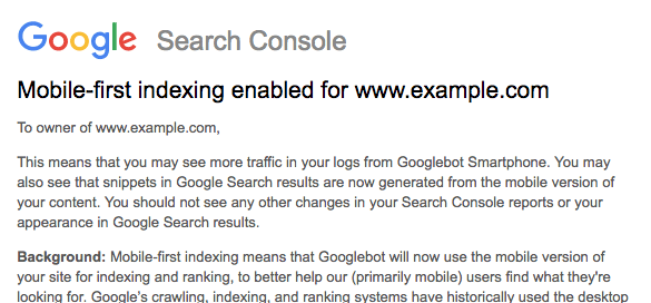 Google mobile-first indexing bericht GSC