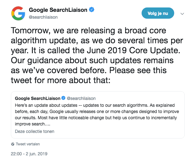 Aankondiging June 2019 Core Update door Google Search Liaison op Twitter.